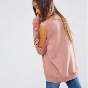 New ASOS Cold Shoulder Dusty Rose Sweatshirt 4